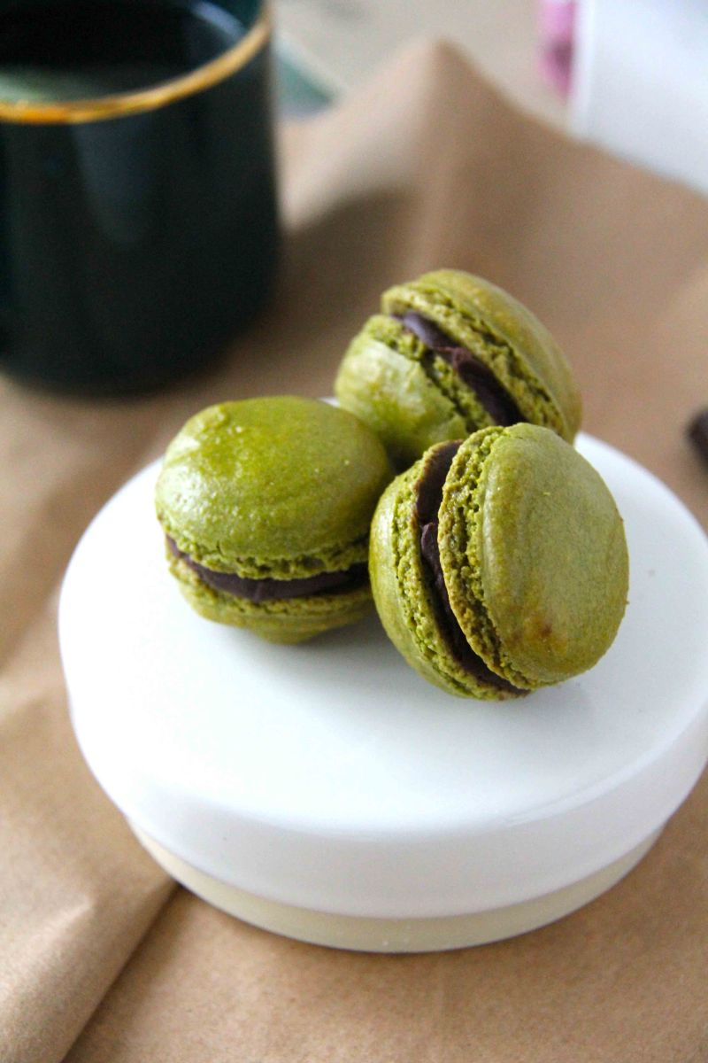 Matcha Macarons with Bittersweet Chocolate Ganache