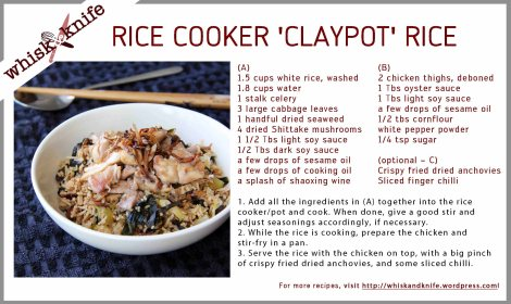 rice cooker claypot rice card