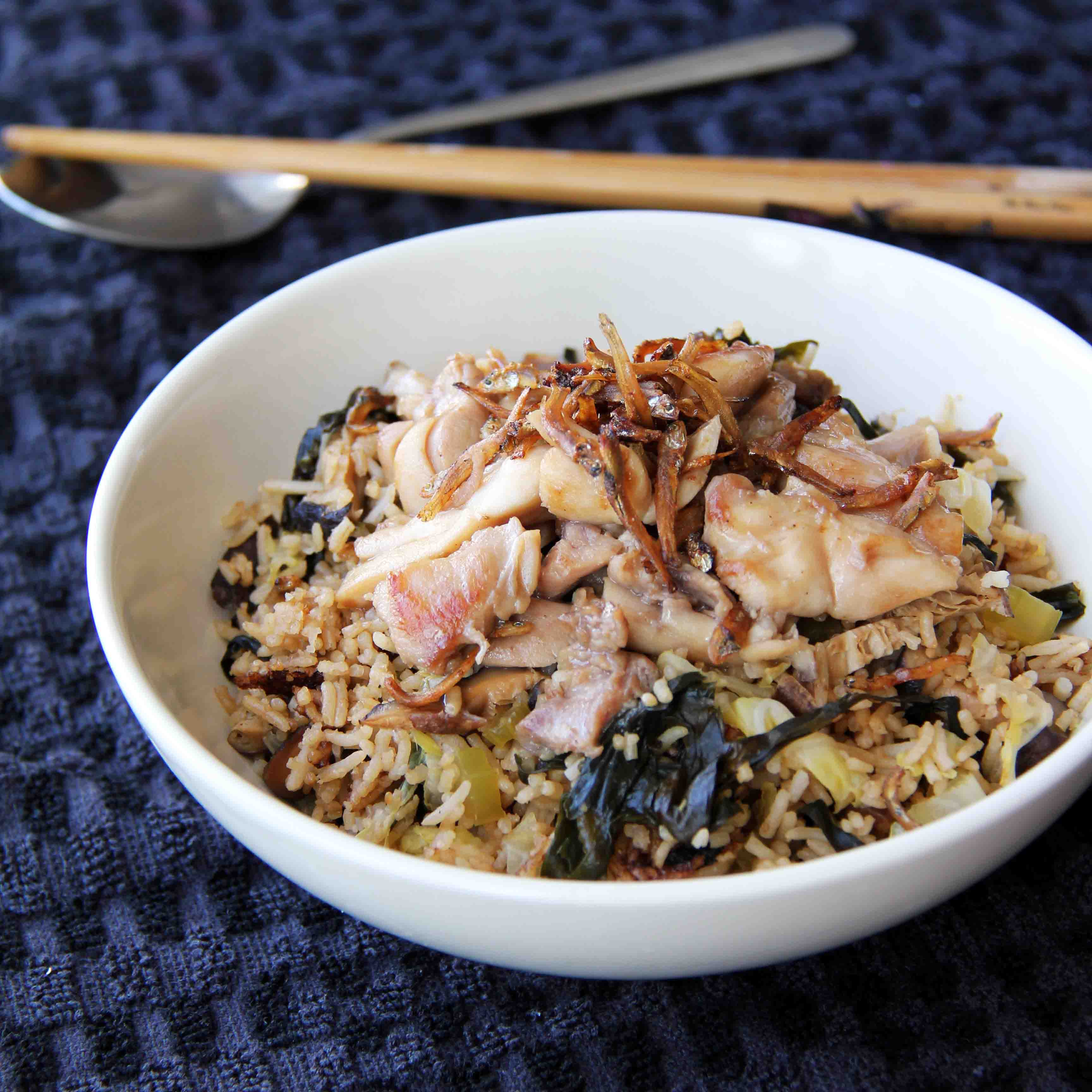 Rice Cooker Claypot Rice With Chicken Whisk Knife